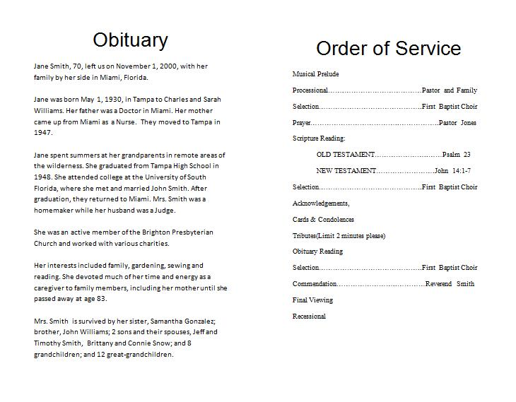 Sample obituaries for pastor just b cause for Obituary guide template