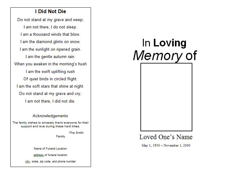 memorial program template sample