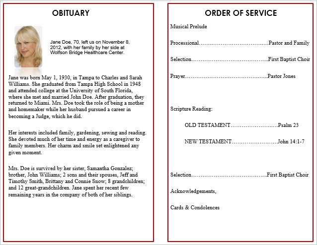 Printable funeral memorial templates for microsoft word for Free funeral program template